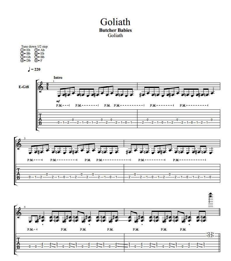 Goliath Album Guitar Pro Tablature PDF